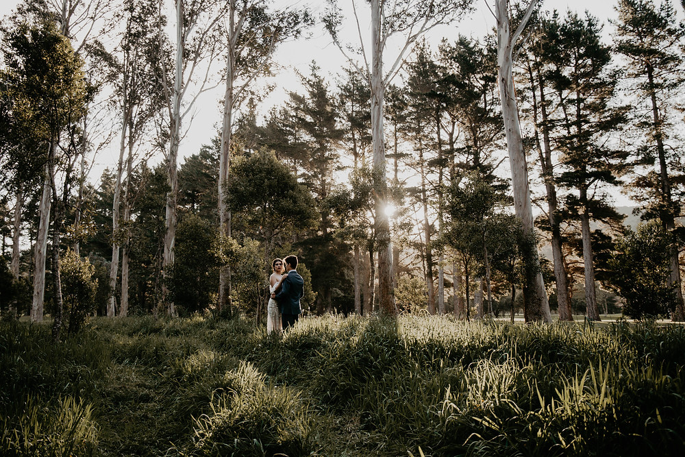 Vintage Halloween inspired wedding styled shoot, wedding couple at sunset in front of tree line.