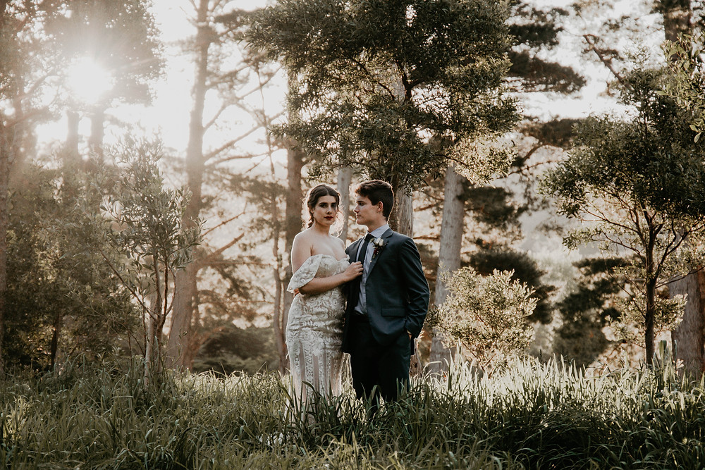 Vintage Halloween inspired wedding styled shoot, forest at sunset.