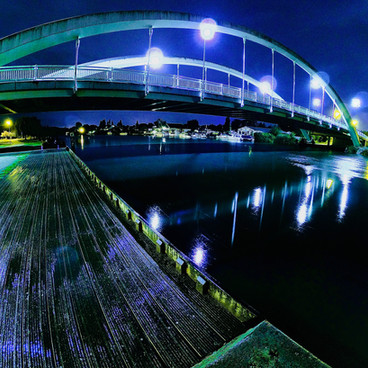 Walton Bridge - A Wide Angle View Of Walton Bridge At Night