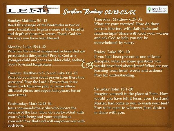 Lent Scripture Readings 02.28 thru 03.06