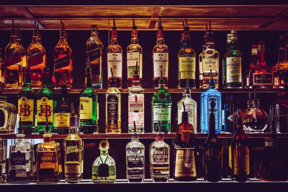 Spirit Bottles on bar shelves - lots of them!