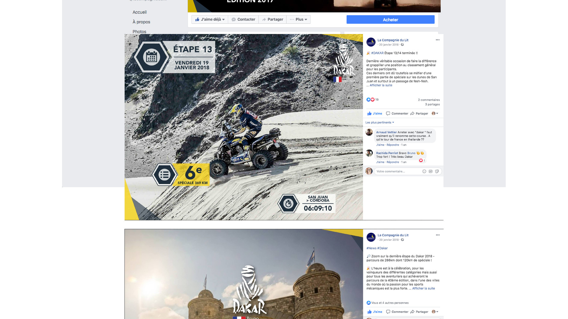 Post Facebook Dakar 2017