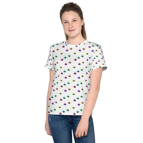 Youth T-Shirt Raptor Tri-fecta Rainbow All Over Dinosaur Print