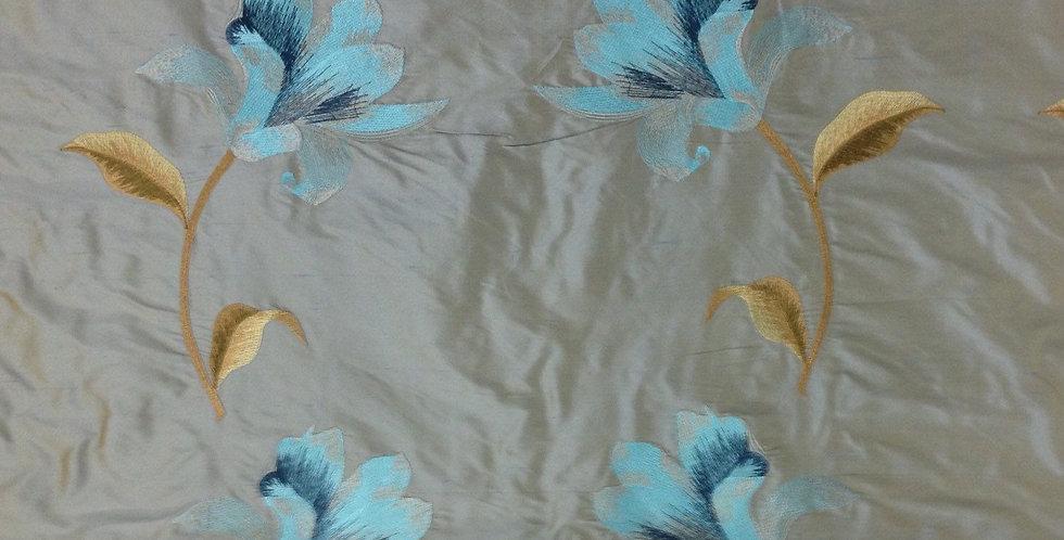 Aqua Embroidered Silk Floral Fabric