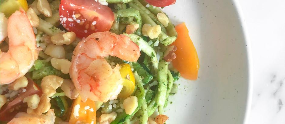 Shrimp Pesto Zucchini Pasta
