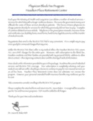 Hazelton Place block fee introdutory letter for Dr. Baker