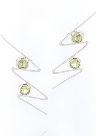 Zig Zag Earrings sterling silver peridot