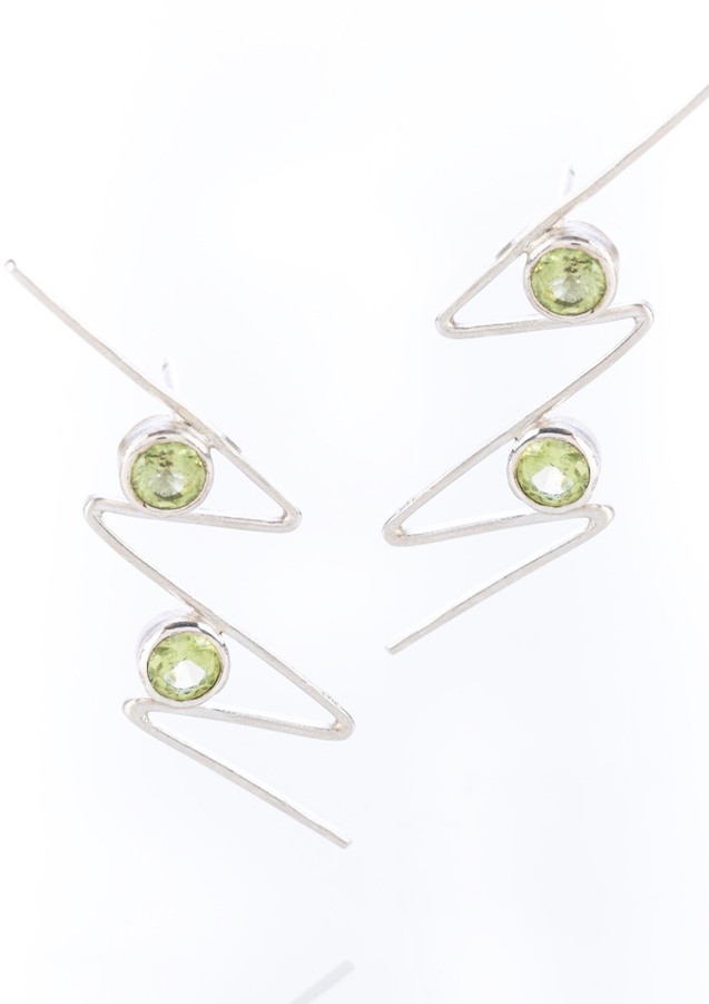 Zig Zag Earrings sterling silver peridot