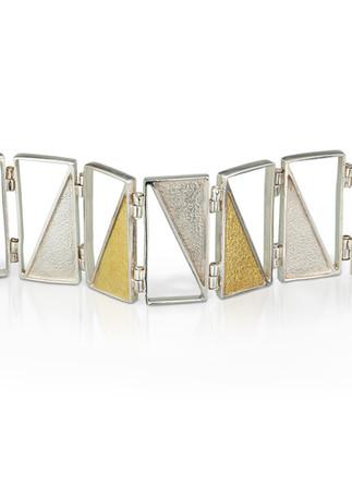Captured Triangles Bracelet Silver Gold