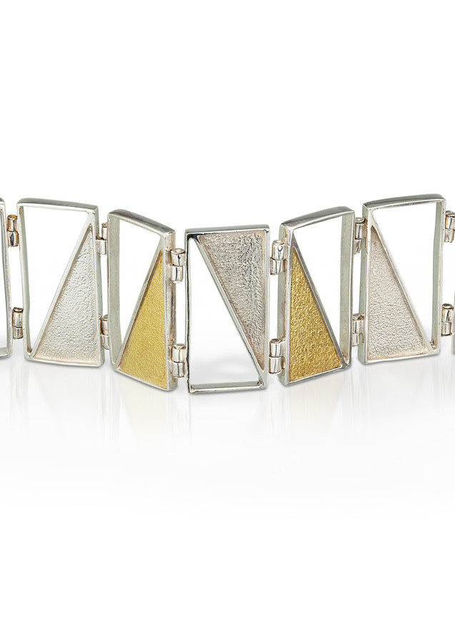 Captured Triangles Bracelet Silver Gold