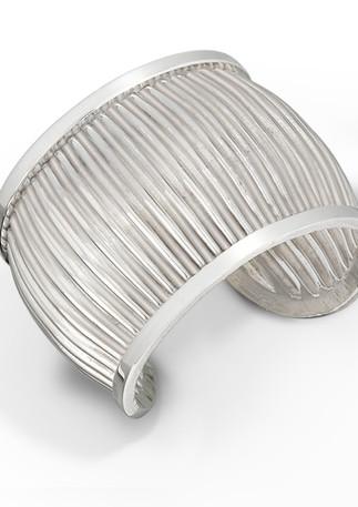 Framed Rippled Bracelet Sterling Silver