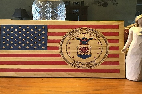 USA Flag in wood