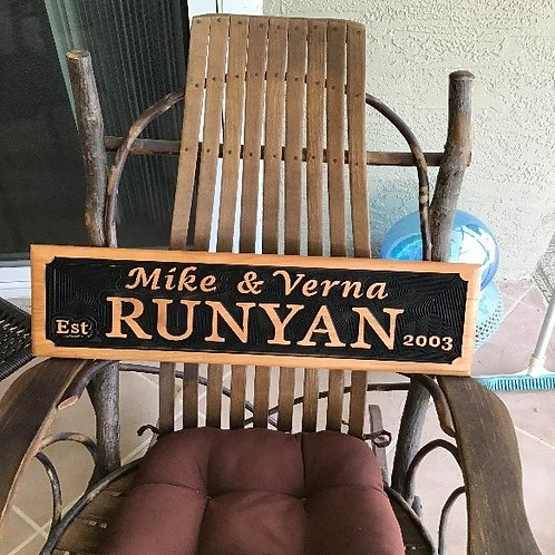 Home Name Sign in Wood
