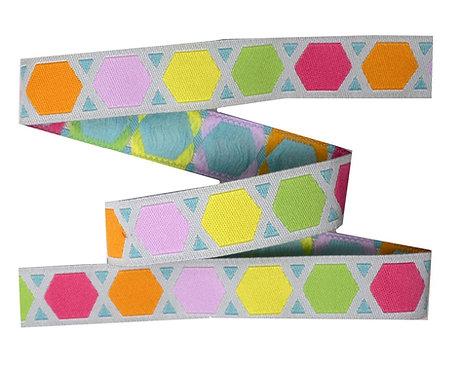 Webband Geometric Bunt Grau 15mm