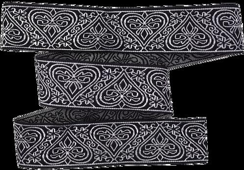 Webband Herzen Schwarz Silber 31mm