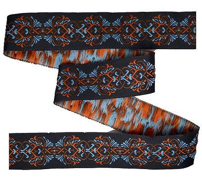 Webband Floral Braun Blau Orange 25mm