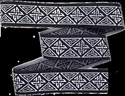 Webband Endloser Knoten Silber Schwarz 33mm