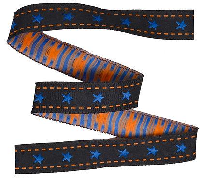 Webband Sterne Schwarz Orange 12mm