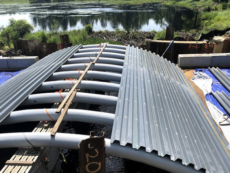 Decking is going onto our newest bridge in Massachusetts.