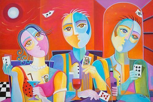 Poker Game at Sunset