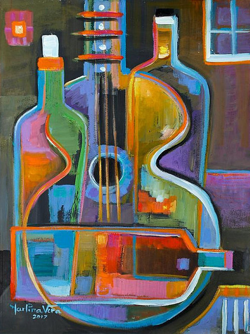 Guitar and Wine Bottles