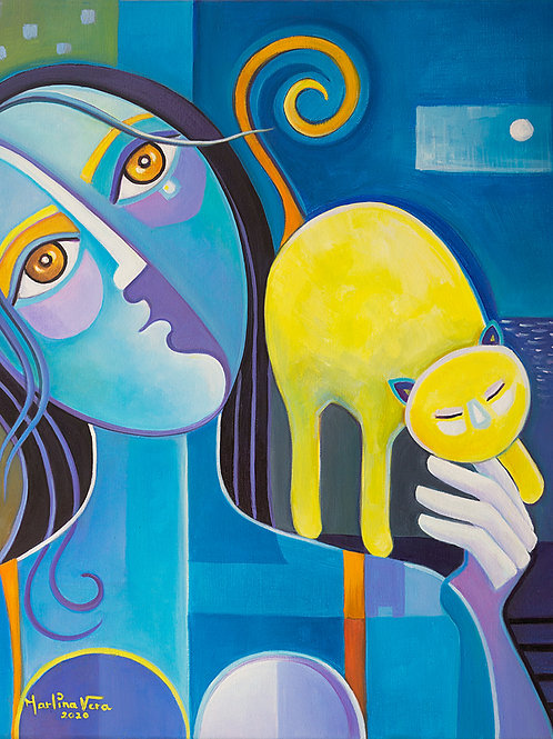 Blue Woman with a Yellow Cat