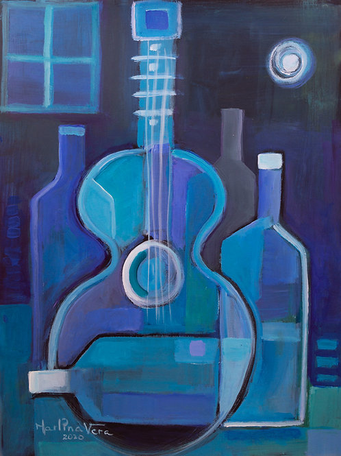 Blue wine and Blue Guitar