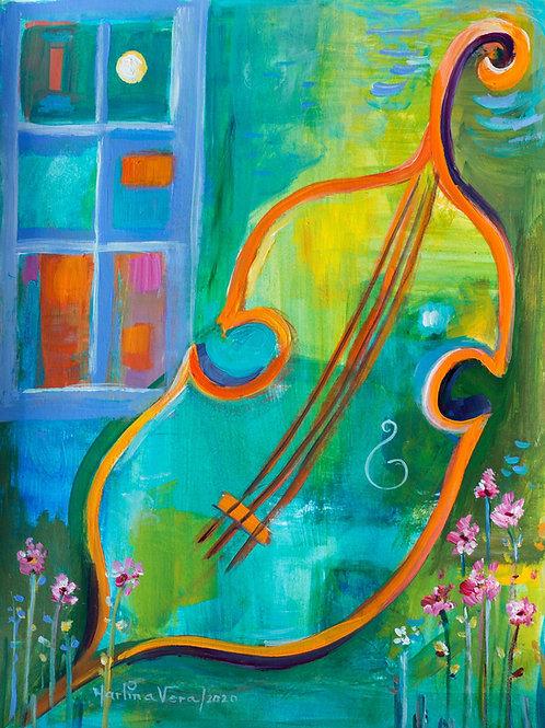 Cello in the Garden    SOLD