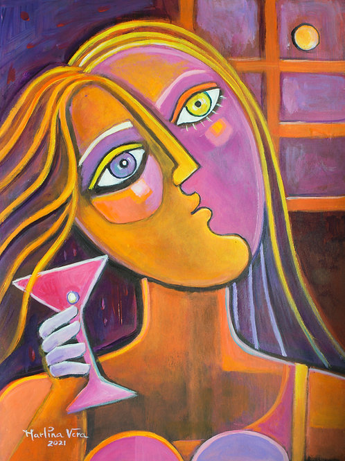 Martini Girl at Sunset