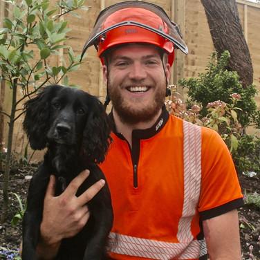 Matt Milsom the tree Surgeon and his dog Dibble