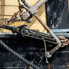 Ropes on a ship at Charlstown Harbour, Cornwall
