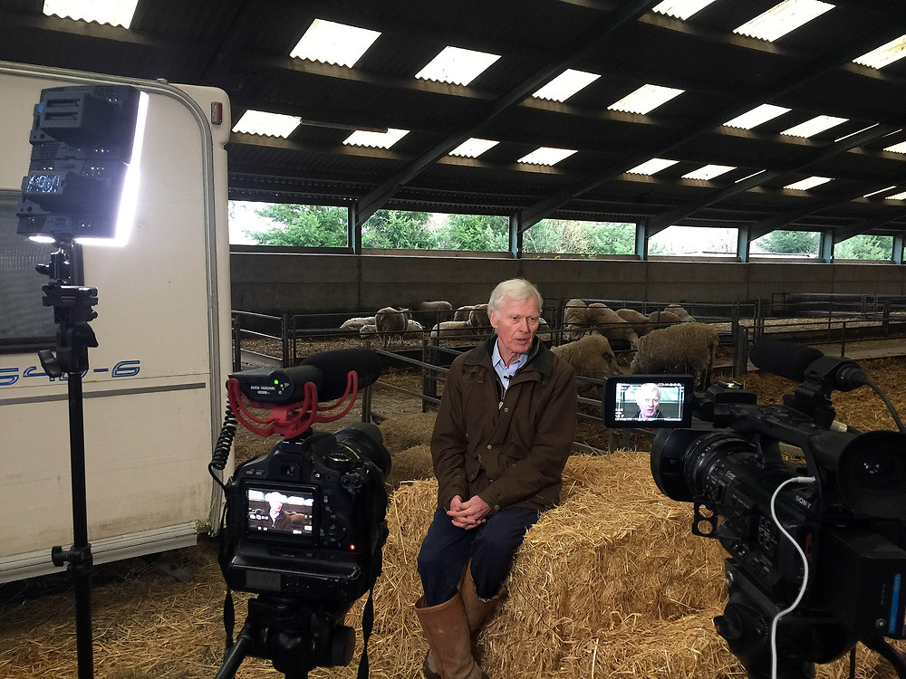 Interviewing Lord Newborough at Rhug Estate farm, North Wales