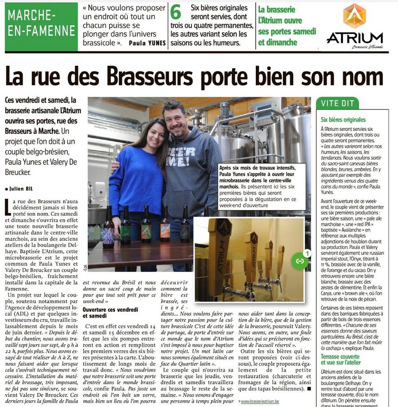 11/12/18 L'Avenir - Brasserie Atrium
