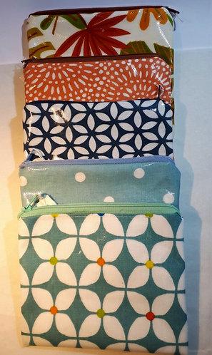 Oil cloth zip purses/ pencil cases