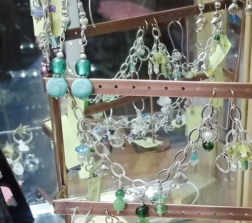 Silver earrings and necklaces