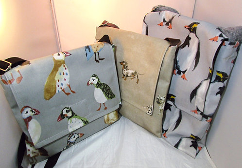 Waterproof Oil cloth hand bag. Across The Body Bag -Various designs