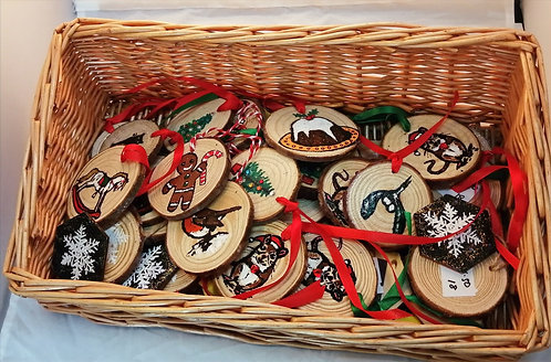 Hand painted wooden Christmas decorations