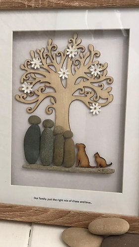 Personalised Pebble People framed art