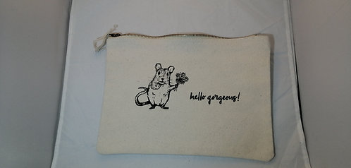 """Hello Gorgeous"" Hand painted zipped washbag"