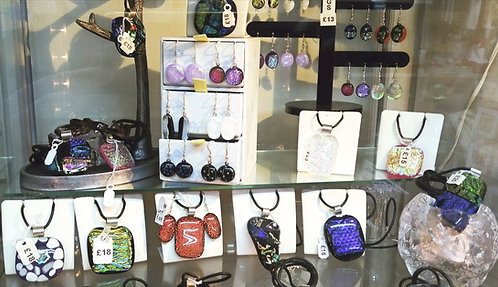 Fused glass jewellery - earrings, necklaces,