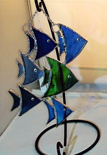 Shoal of fish on a stand - stained glass