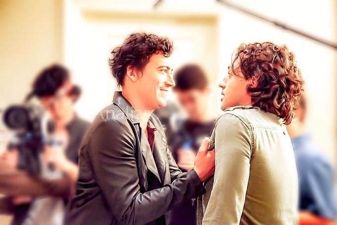 "Thomas Nicholas and Andrew Keegan on the set of ""LIVING AMONG US"""