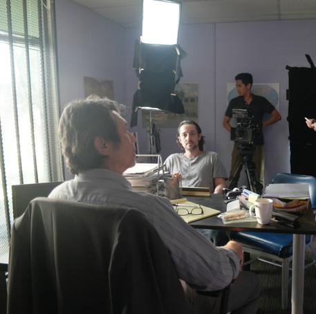 "Thomas Nicholas and Lou Diamond Phillips on the set of ""ADVERSE"""