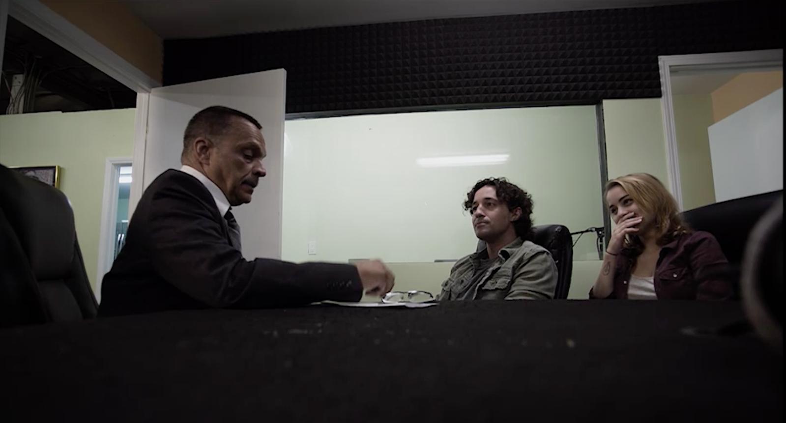 "Thomas Nicholas, James Russo and Jordan Hinson in ""Living Among Us"""