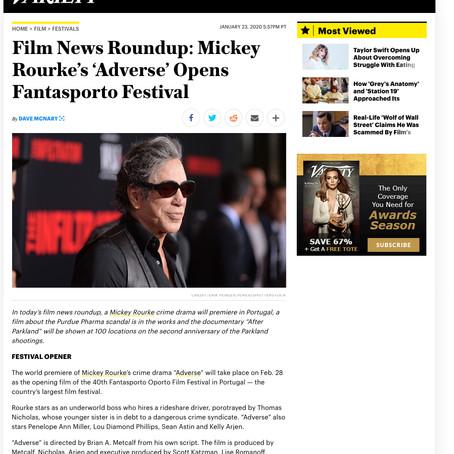 VARIETY: Film News Roundup: Mickey Rourke's 'Adverse' Opens Fantasporto Festival