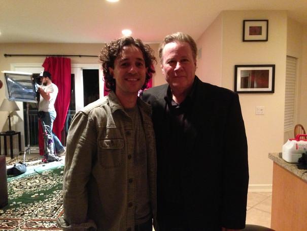 "Thomas Nicholas and John Heard on the set of ""LIVING AMONG US"""