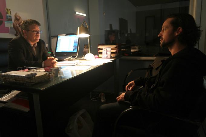 "Thomas Nicholas and Sean Astin on the set of ""ADVERSE"""
