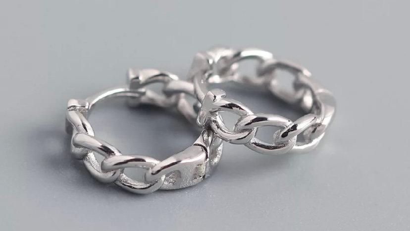 Mini arito cadena Plata
