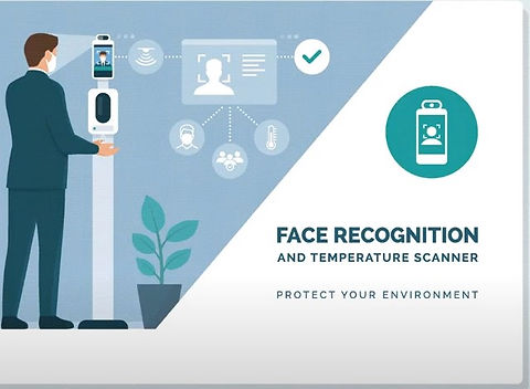 face scan recognition system linked with time card option to take temperature