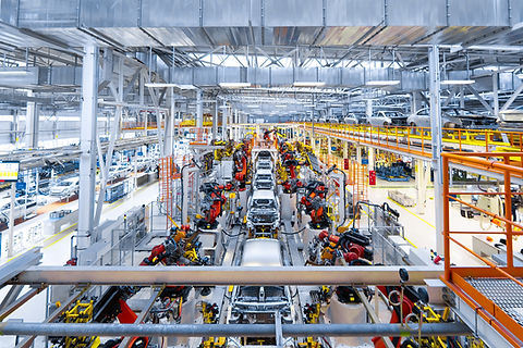 Automotive production line. Welding car